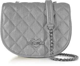 Love Moschino Silver Metallic Quilted Eco-Leather Crossbody Bag