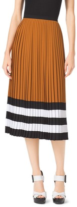 Michael Kors Color-Block Pleated Georgette Skirt