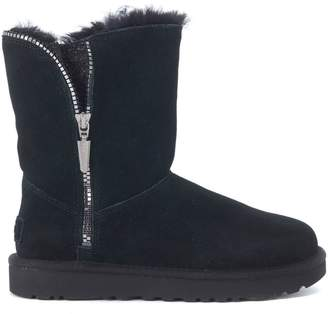 UGG Marice Black Leather Boots With Zip And Glitter Fabric
