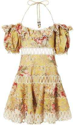 Zimmermann Melody Off Shoulder Mini Dress