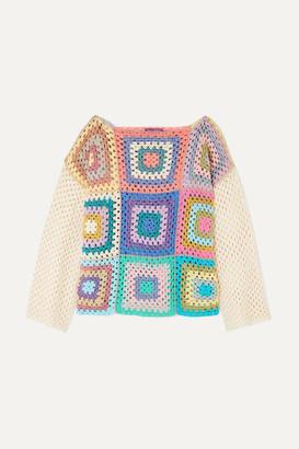 Rose Carmine - Metallic Crochet-knit Sweater - Baby pink