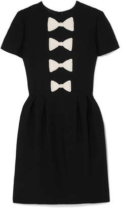Valentino Bow-detailed Wool And Silk-blend Mini Dress - Black