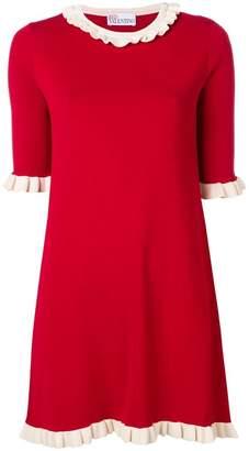 RED Valentino frilled trim knit dress