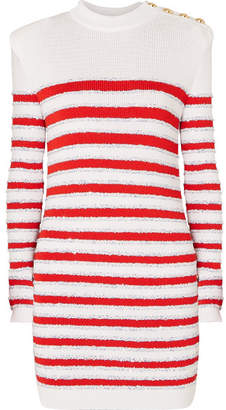 Balmain Button-embellished Sequined Striped Stretch-knit Mini Dress - White