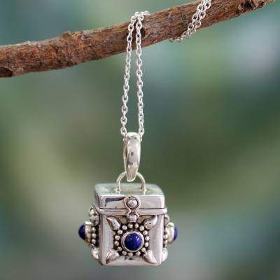 Fair Trade Sterling Silver and Lapis Lazuli Locket Necklace, 'Royal Prayer'