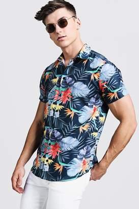boohoo Bright Palm Print Short Sleeve Shirt