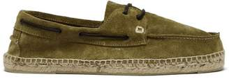 Manebi Hamptons Green Suede Boat Shoes - Mens - Khaki