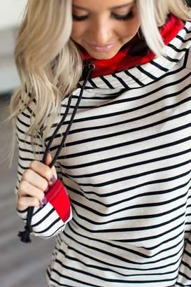 Ampersand Avenue *Exclusive DoubleHood Sweatshirt - Tan Stripe & Buffalo