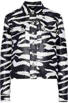 Versace Coated Zebra-Print Satin-Twill Jacket