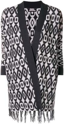 Hemisphere jacquard pattern fringed cardigan