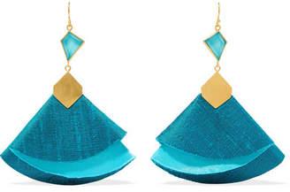 Katerina Makriyianni - Twirl Drop Gold-tone, Silk And Turquoise Earrings - Blue