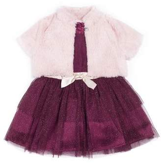 Little Lass Lace and Glitter Tulle Holiday Dress with Faux Fur Shrug, 2-Piece Set (Little Girls)