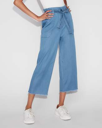 Express High Waisted Silky Soft Cropped Sash Waist Pant