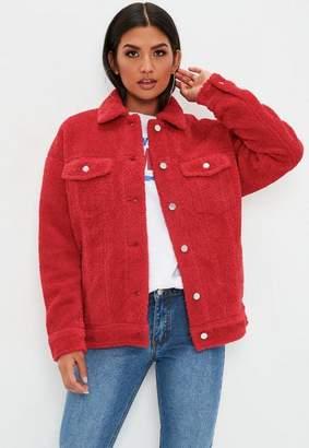Missguided Red Oversized Borg Trucker Jacket