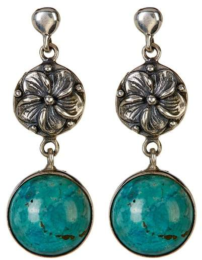 Exex Design Jewelry Sterling Silver Memphis Turquoise Drop Earrings