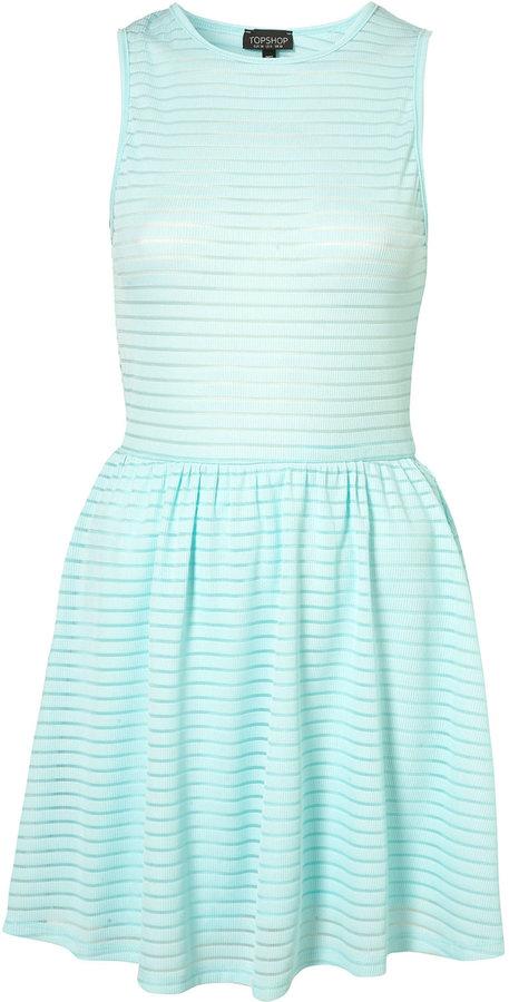 Topshop Cutout Back Self Stripe Flippy Dress