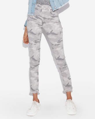 Express High Waisted Camo Stretch Cropped Leggings