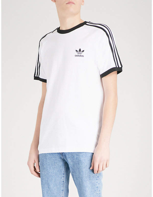 Striped short-sleeved cotton T-shirt