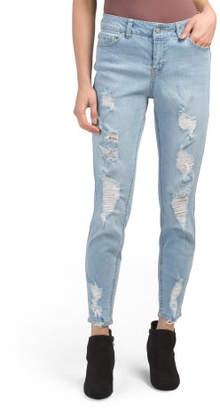 Juniors High Waist Destructed Ankle Jeans