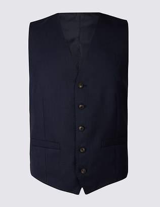 Marks and Spencer Indigo Textured Regular Fit Waistcoat