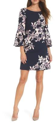 Eliza J Floral Bell Sleeve Shift Dress