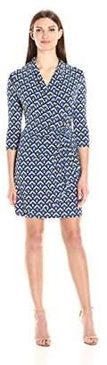 Karen Kane Women's Three-Quarter-Sleeve Cascade Wrap Dress