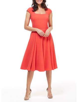16ee26d282e2 Gal Meets Glam Square-Neck Cap-Sleeve Fit-&-Flare Dress