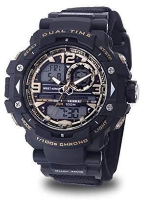 Wrist Armor Men's 'Velcro Strap' Quartz Black Casual Watch (Model: 37600018)