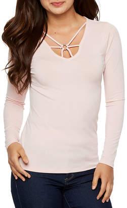 Bold Elements Womens Keyhole Neck Long Sleeve Blouse