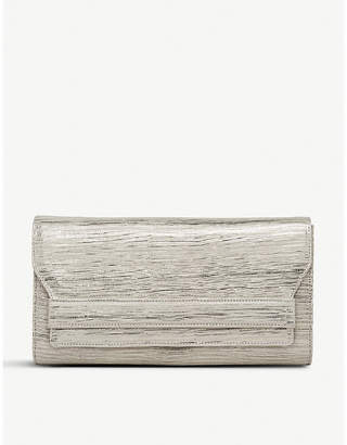 LK Bennett Ella leather lizard-effect clutch