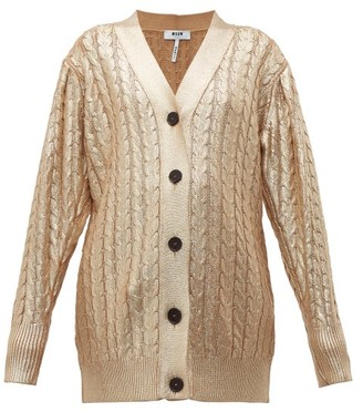 MSGM Metallic Cable Knit Wool Blend Cardigan - Womens - Gold