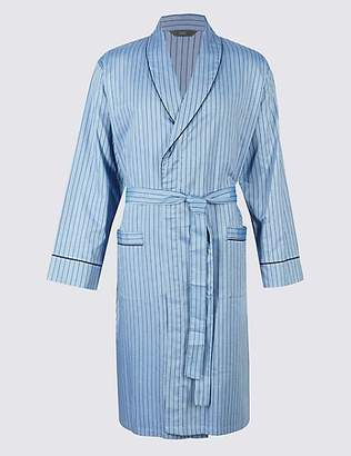 M&S Collection Pure Cotton Herringbone Stripe Gown