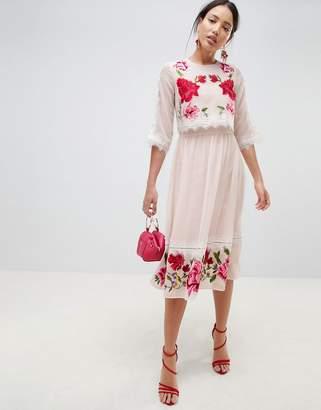 Asos DESIGN Double Layer Embroidered midi dress