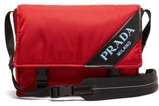 Prada Logo Nylon Messenger Bag - Womens - Red