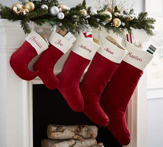 Pottery Barn Velvet Stocking - Red with Ivory Cuff