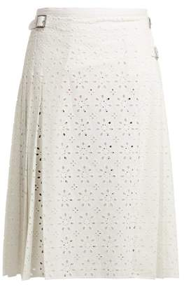 Christopher Kane Cotton Broderie Anglaise Kilt Skirt - Womens - White