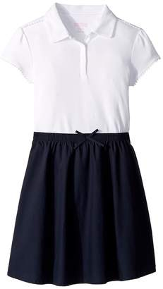 Nautica Short Sleeve Interlock Pom Pom Dress Girl's Dress