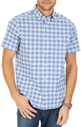 Nautica Short-Sleeve Plaid Woven Stretch Sport Shirt