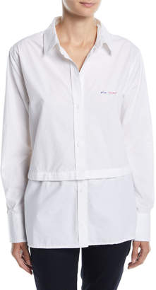 Current/Elliott Edie Embroidered Button-Front Shirt w\/ Snap-Off Hem