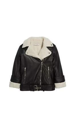 Oscar de la Renta Shearling and Leather Moto Jacket