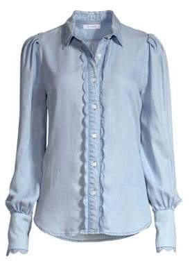 Frame Scalloped Denim Button-Down Shirt