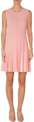 Akris Punto Crewneck Sleeveless Striped Pleated Dress