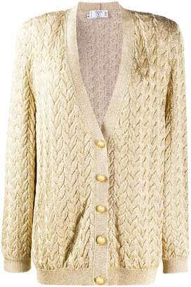 Valentino PRE-OWNED 1980's cable knit metallic cardigan