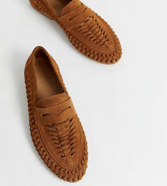 Asos Design DESIGN Wide Fit Mellow leather weave loafer in natural