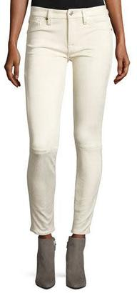 7 For All Mankind Knee-Seam Sueded Skinny Jeans, Open White $199 thestylecure.com