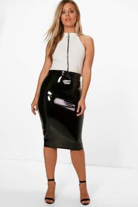 boohoo Plus High Shine PU Midi Skirt