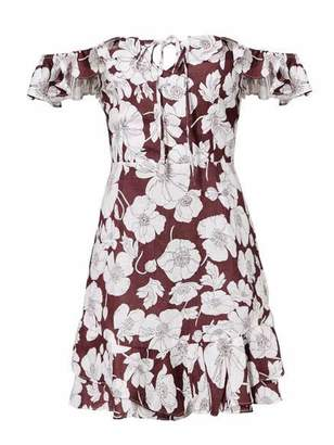 Goodnight Macaroon 'Trixy' Floral Print Ruffle Cold Shoulder Dress (2 Colors)
