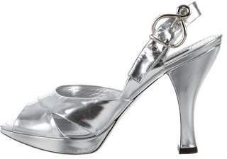 Louis Vuitton Metallic Slingback Sandals