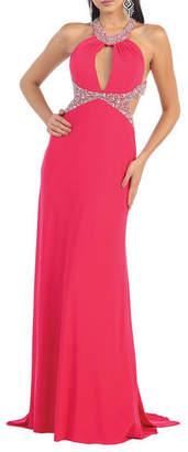 Asstd National Brand Sexy Exposed Back Halter Prom Dress