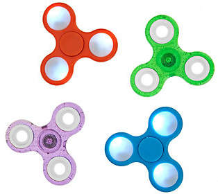 Flipo Set of 4 Fidget Spinner Gadgets withLED and Classic